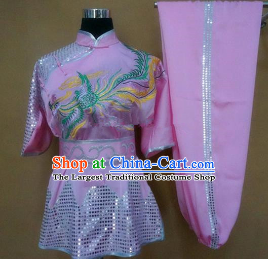 Chinese Traditional Kung Fu Martial Arts Embroidered Phoenix Costumes Tai Chi Training Pink Clothing for Women