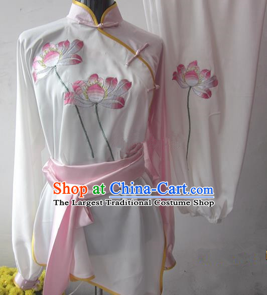 Chinese Traditional Kung Fu Silk Costumes Martial Arts Tai Chi Training Embroidered Lotus Clothing for Women