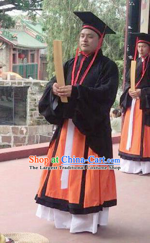 Chinese Ancient Wedding Costumes Han Dynasty Minister Clothing and Hat for Men