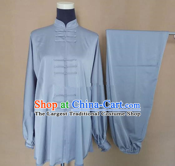Chinese Traditional Martial Arts Grey Silk Costumes Tai Chi Tai Ji Training Clothing for Adults