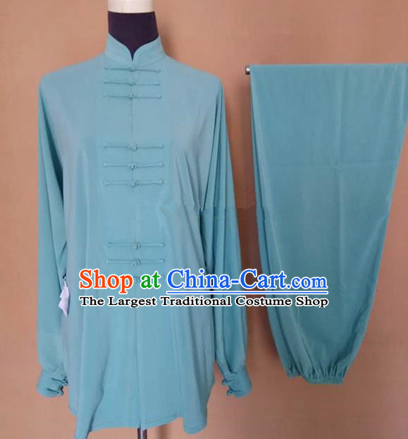 Chinese Traditional Martial Arts Green Silk Costumes Tai Chi Tai Ji Training Clothing for Adults