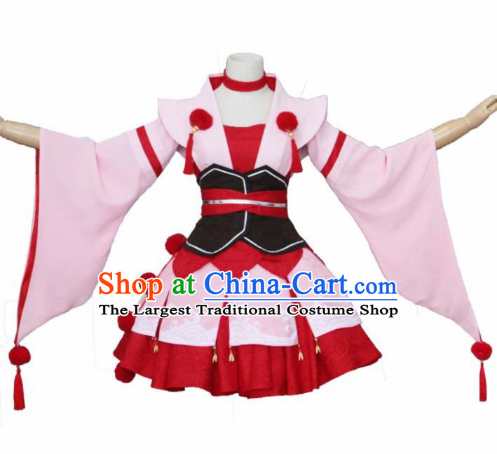 Asian Traditional Pink Kimono Cosplay Costumes Japanese Ancient Geisha Furisode Yukata Clothing for Women