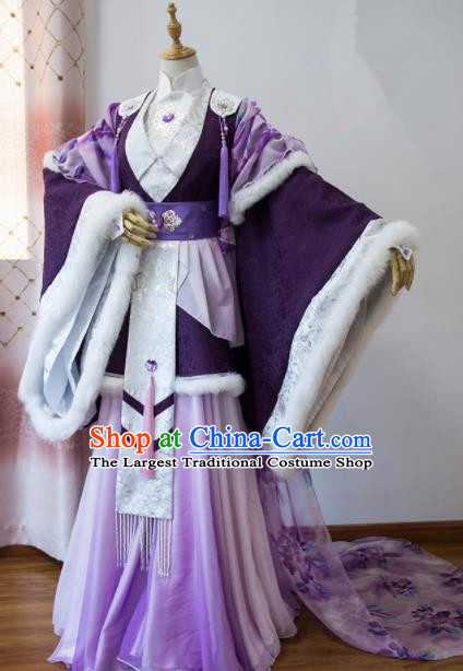 Chinese Traditional Cosplay Peri Princess Costumes Ancient Swordswoman Purple Hanfu Dress for Women
