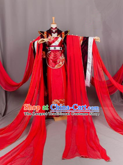 Chinese Traditional Wedding Cosplay Costumes Ancient Peri Princess Bride Red Hanfu Dress for Women