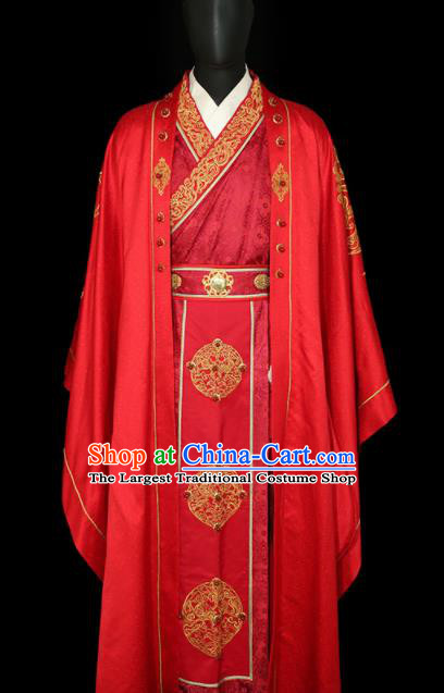 Chinese Traditional Bridegroom Wedding Costumes Ancient Swordsman Red Clothing for Men