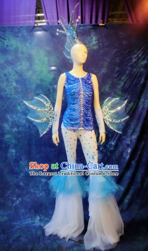 Top Grade Halloween Stage Performance Blue Costumes Sea World Cosplay Clothing and Headdress for Women