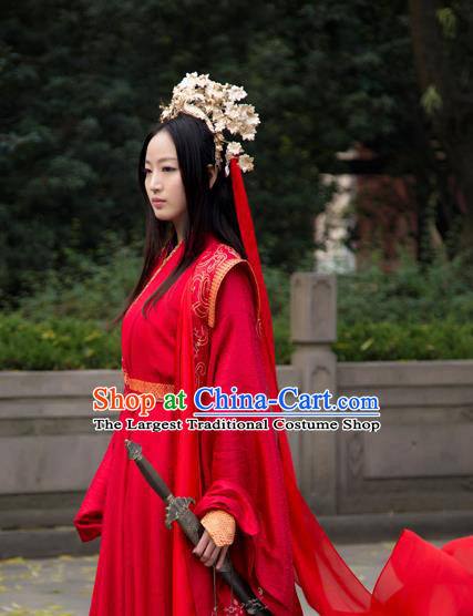 Chinese Traditional Wedding Costumes Ancient Swordswoman Bride Embroidered Hanfu Dress and Headpiece for Women
