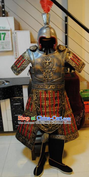 Chinese Traditional Qin Dynasty Warrior Costumes Ancient General Helmet and Body Armour for Men