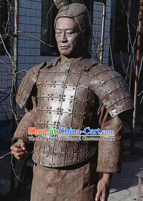 Chinese Traditional Qin Dynasty Terra-Cotta Warriors Costumes Ancient General Helmet and Armour for Men