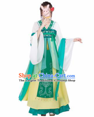 Chinese Traditional Cosplay Princess Costumes Ancient Peri Green Hanfu Dress for Women