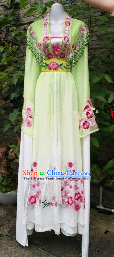 Chinese Traditional Beijing Opera Princess Costumes Ancient Nobility Lady Embroidered Green Dress for Women
