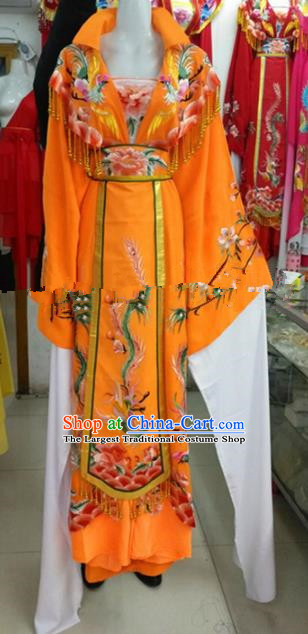 Chinese Traditional Beijing Opera Actress Empress Yellow Dress Ancient Palace Embroidered Costumes for Women