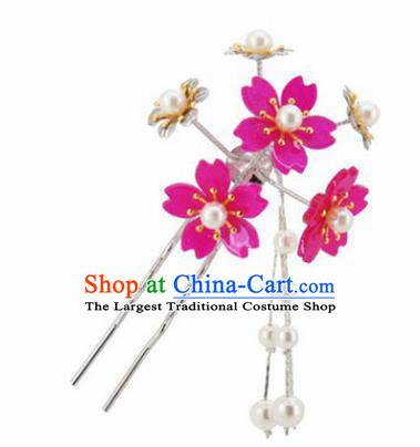 Japanese Traditional Kimono Hair Accessories Ancient Yukata Cherry Blossom Tassel Hairpins for Women