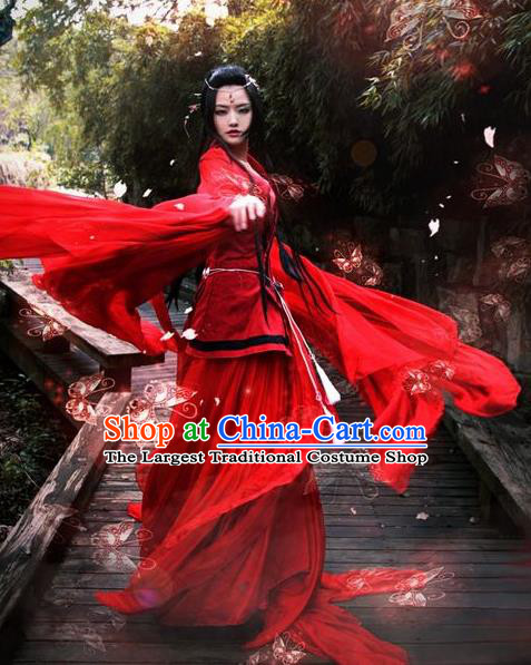 Chinese Ancient Cosplay Female Swordsman Costumes Traditional Tang Dynasty Assassin Embroidered Red Hanfu Dress for Women
