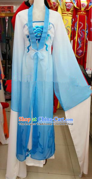 Chinese Traditional Beijing Opera Actress Blue Dress Ancient Court Maid Embroidered Costumes for Women