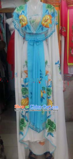 Chinese Traditional Beijing Opera Diva Blue Dress Ancient Palace Princess Embroidered Costumes for Rich