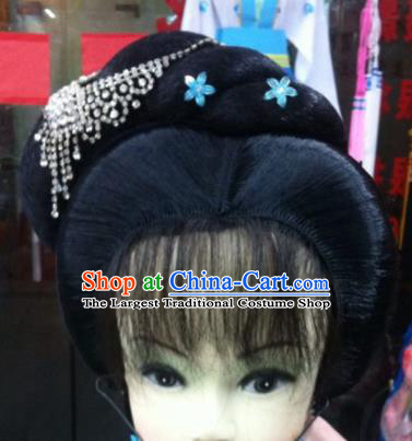 Chinese Traditional Ancient Beijing Opera Court Maid Wig Sheath and Hairpins Hair Accessories for Women