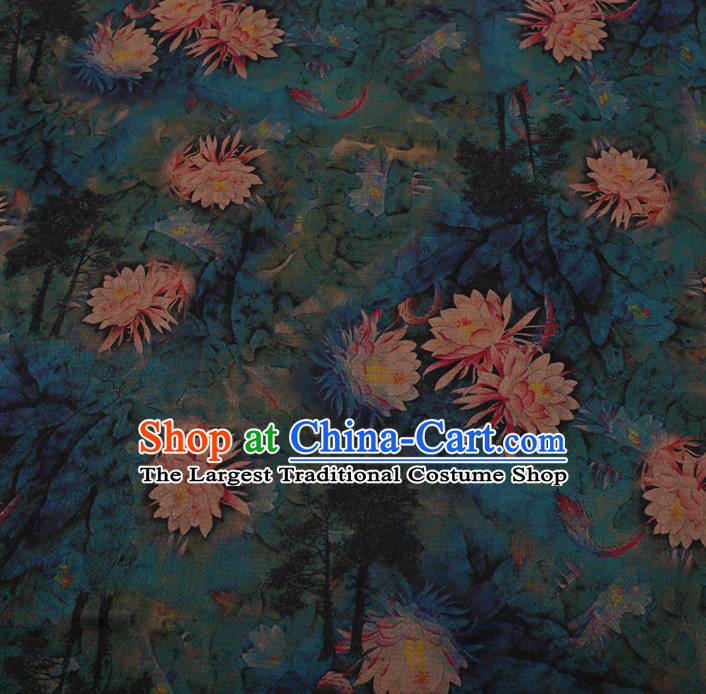 Chinese Traditional Cheongsam Green Crepe Satin Plain Palace Lotus Pattern Silk Fabric Chinese Fabric Asian Material