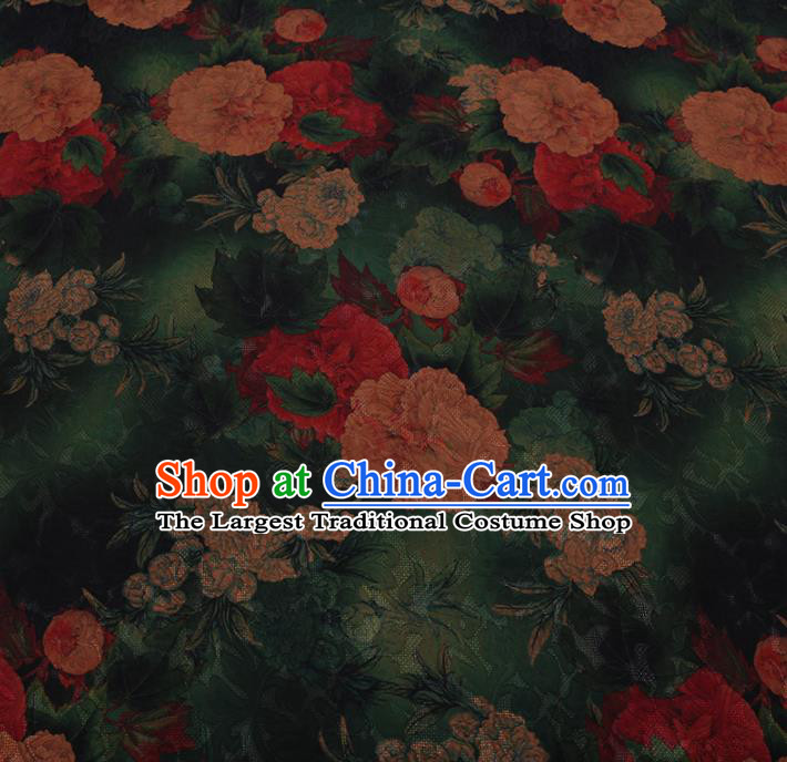 Chinese Traditional Cheongsam Green Crepe Satin Plain Palace Peony Pattern Silk Fabric Chinese Fabric Asian Material