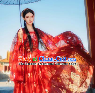 Chinese Ancient Peri Fairy Costumes Traditional Tang Dynasty Princess Embroidered Red Hanfu Dress for Women