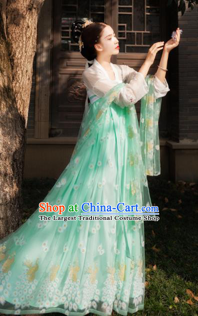 Chinese Tang Dynasty Royal Embroidered Costumes Ancient Imperial Consort Green Hanfu Dress for Women