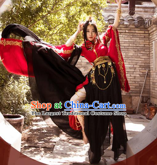 Traditional Chinese Cosplay Female Swordsman Red Hanfu Dress Ancient Peri Costume for Women