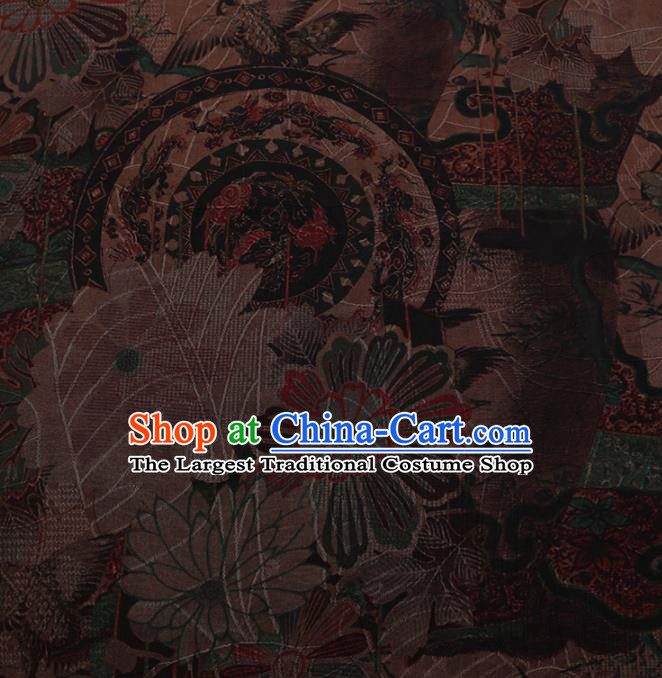 Chinese Traditional Cheongsam Silk Fabric Palace Crane Pattern Jacquard Satin Plain Gambiered Guangdong Gauze