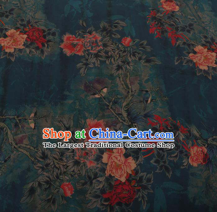 Chinese Traditional Green Silk Fabric Palace Peony Pattern Cheongsam Jacquard Satin Plain Gambiered Guangdong Gauze