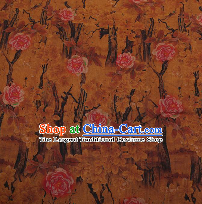 Chinese Traditional Drapery Silk Fabric Palace Peony Pattern Cheongsam Satin Plain Gambiered Guangdong Gauze