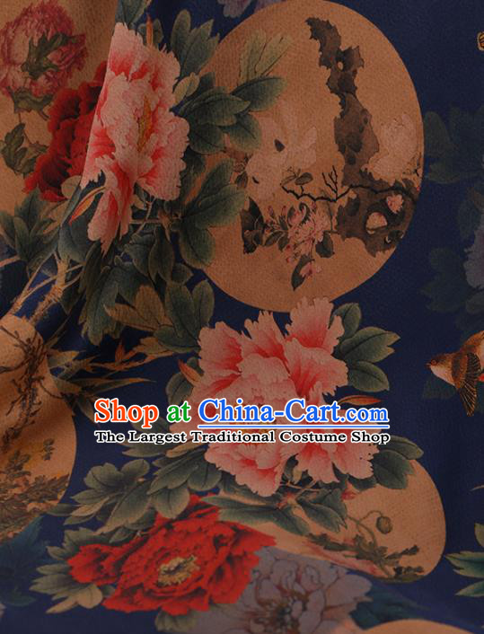 Chinese Traditional Cheongsam Drapery Blue Silk Fabric Palace Peony Pattern Satin Plain Gambiered Guangdong Gauze