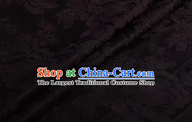 Chinese Classical Black Silk Fabric Traditional Peony Pattern Satin Plain Cheongsam Drapery Gambiered Guangdong Gauze
