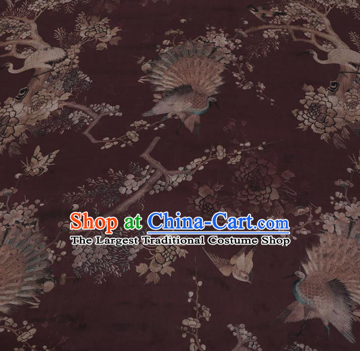 Chinese Classical Silk Fabric Traditional Pattern Amaranth Satin Plain Cheongsam Drapery Gambiered Guangdong Gauze