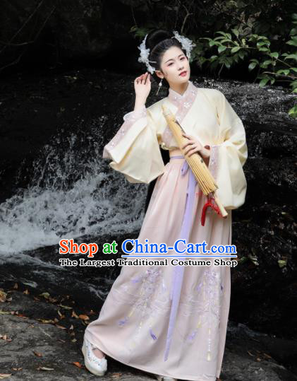 Chinese Ming Dynasty Palace Princess Costumes Ancient Goddess Peri Embroidered Dresses for Women