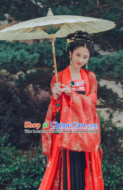 Chinese Tang Dynasty Imperial Consort Wedding Hanfu Dress Ancient Fairy Embroidered Costumes for Women