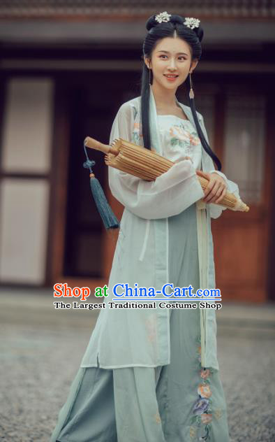 Chinese Traditional Song Dynasty Women Dress Ancient Young Lady Embroidered Costumes Complete Set
