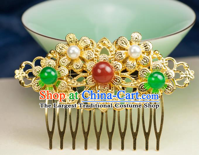 Chinese Traditional Hanfu Hair Accessories Ancient Golden Hair Comb Hairpins for Women