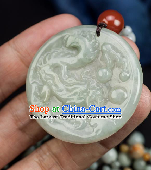 Chinese Traditional Jewelry Accessories Ancient Ice Jade Necklace Jadeite Carving Dragon Pendant
