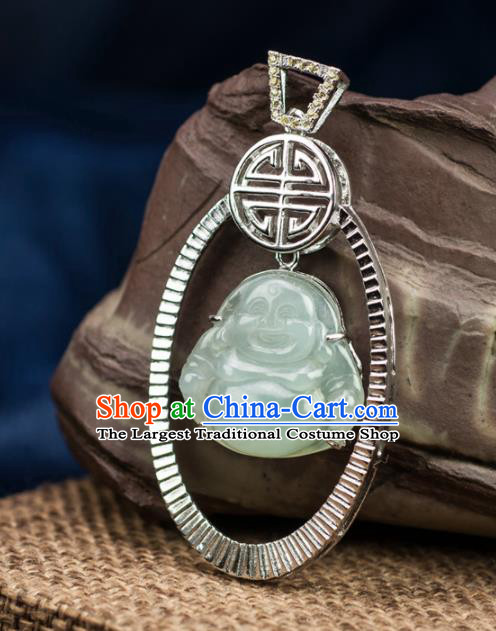Chinese Traditional Jewelry Accessories Jade Pendant Ancient Jadeite Maitreya Buddha Necklace