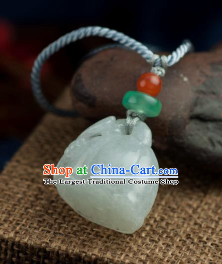 Chinese Traditional Jewelry Accessories Ancient Hanfu Carving Lotus Jade Necklace for Women