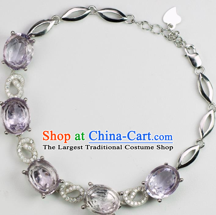 Chinese Traditional Jewelry Accessories Handmade Amethyst Bangle Ancient Hanfu Bracelet for Women