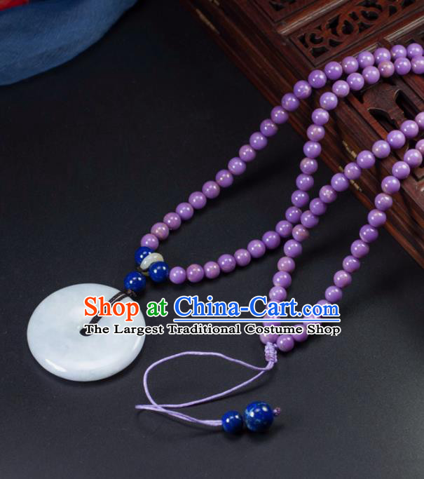 Chinese Traditional Jade Jewelry Accessories Necklace Ancient Hanfu Jadeite Necklet for Women