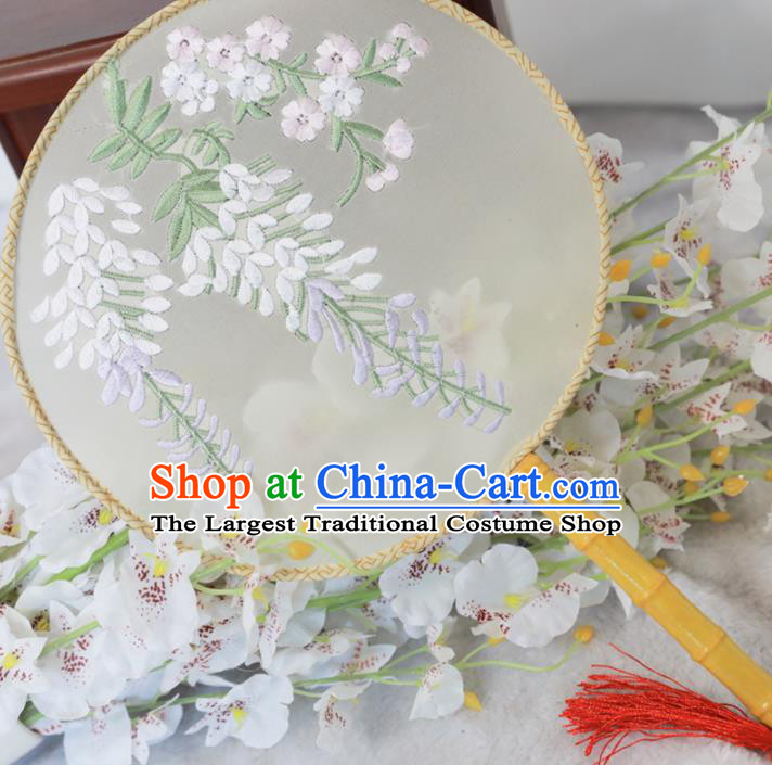 Chinese Traditional Hanfu Palace Fans Ancient Handmade Embroidered Wisteria Round Fans for Women