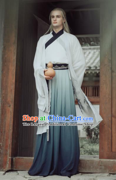 Chinese Ancient Jin Dynasty Scholar Clothing Traditional Nobility Childe Embroidered Costumes for Men