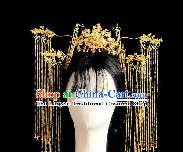 Chinese Classical Hair Accessories Traditional Ancient Hanfu Golden Phoenix Coronet Hairpins Complete Set for Women