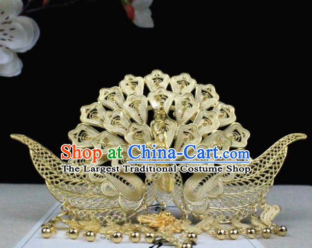 Chinese Classical Golden Phoenix Hairpins Wedding Hair Accessories Traditional Ancient Hair Clip for Women