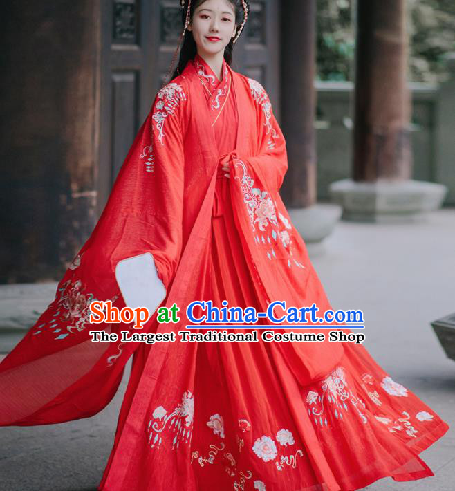 Chinese Tang Dynasty Wedding Red Hanfu Dress Traditional Ancient Princess Embroidered Costumes for Women