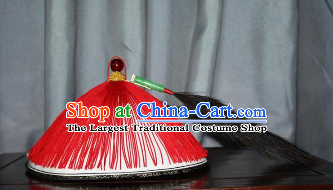 Chinese Traditional Ancient Minister Headdress Qing Dynasty Manchu Chancellor Hat for Men