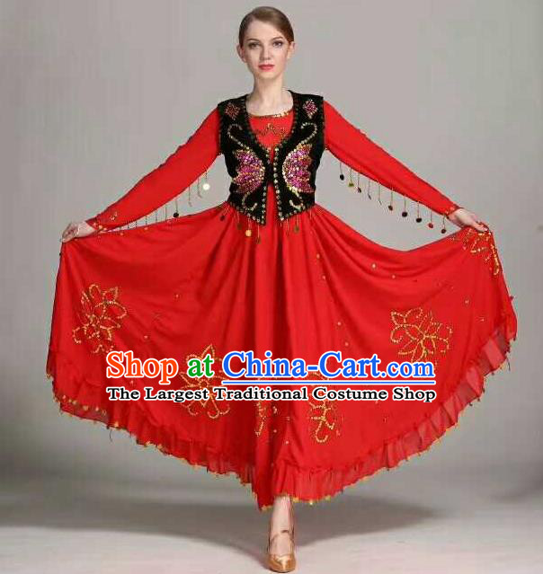 Chinese Traditional Uigurian Ethnic Costumes Uyghur Minority Folk Dance Red Dress for Women