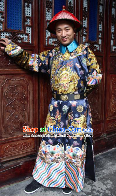 Chinese Traditional Ancient Qing Dynasty Manchu Minister Embroidered Costumes and Hat for Men