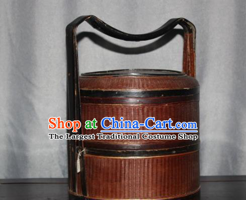 Chinese Ancient Handmade Craft Film Props Bamboo Food Basket